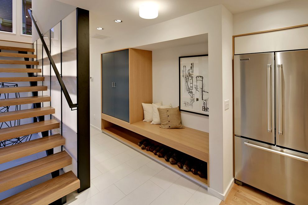 Jerome's El Cajon   Contemporary Hall  and Built in Bench Floating Staircase Gray Cabinet Shoe Storage