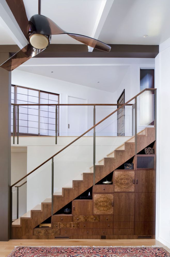 Jes Construction   Contemporary Staircase Also Area Rug Banister Ceiling Fan Exposed Beams Glass Railing Handrail Loft Shelves Storage Under Stairs Storage Wood Cabinets Wood Flooring Wood Staircase