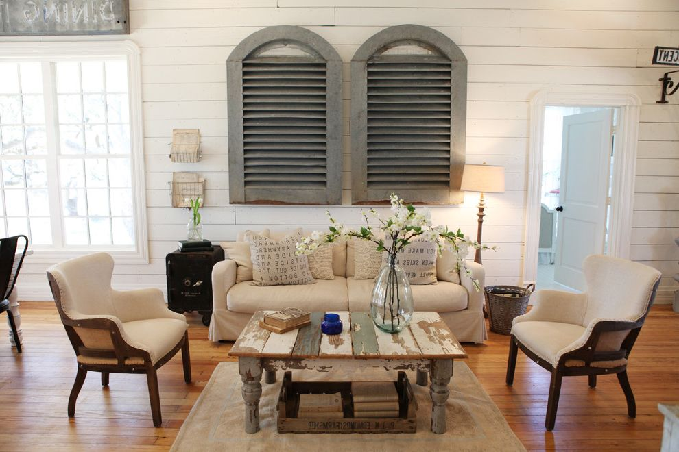 Joanna Gaines Age   Shabby Chic Style Living Room  and Area Rug Armchairs Coffee Table Louvers Sofa White Paneling Windows