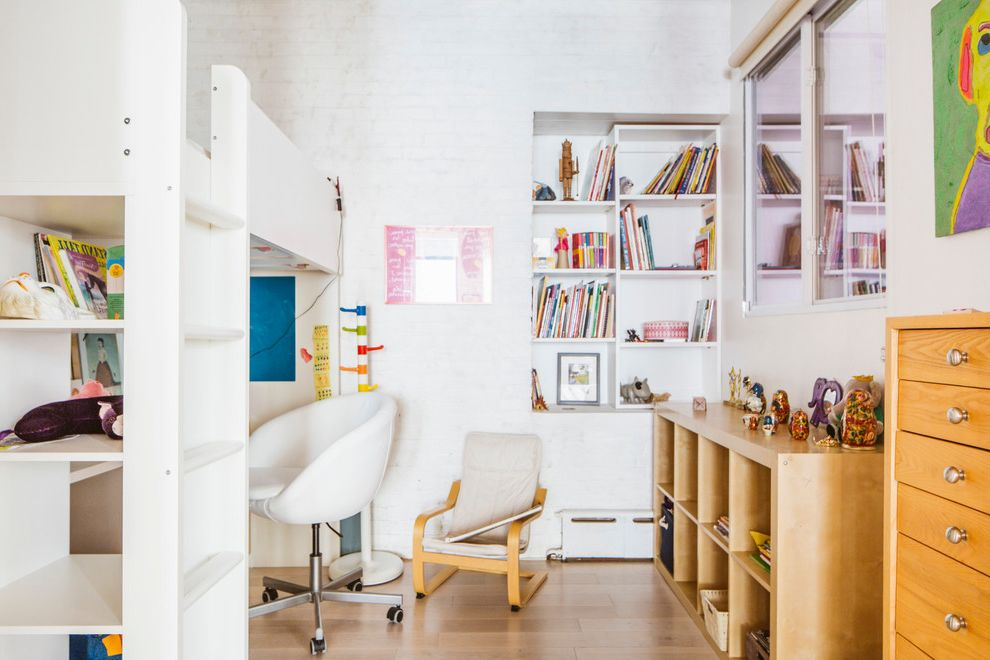 Joanna Gaines Age with Industrial Kids Also Built in Shelves Desk Chair Desk Under Bed Kids Room Accessories Loft Bed New York Storage Tribeca White Painted Brick Wall