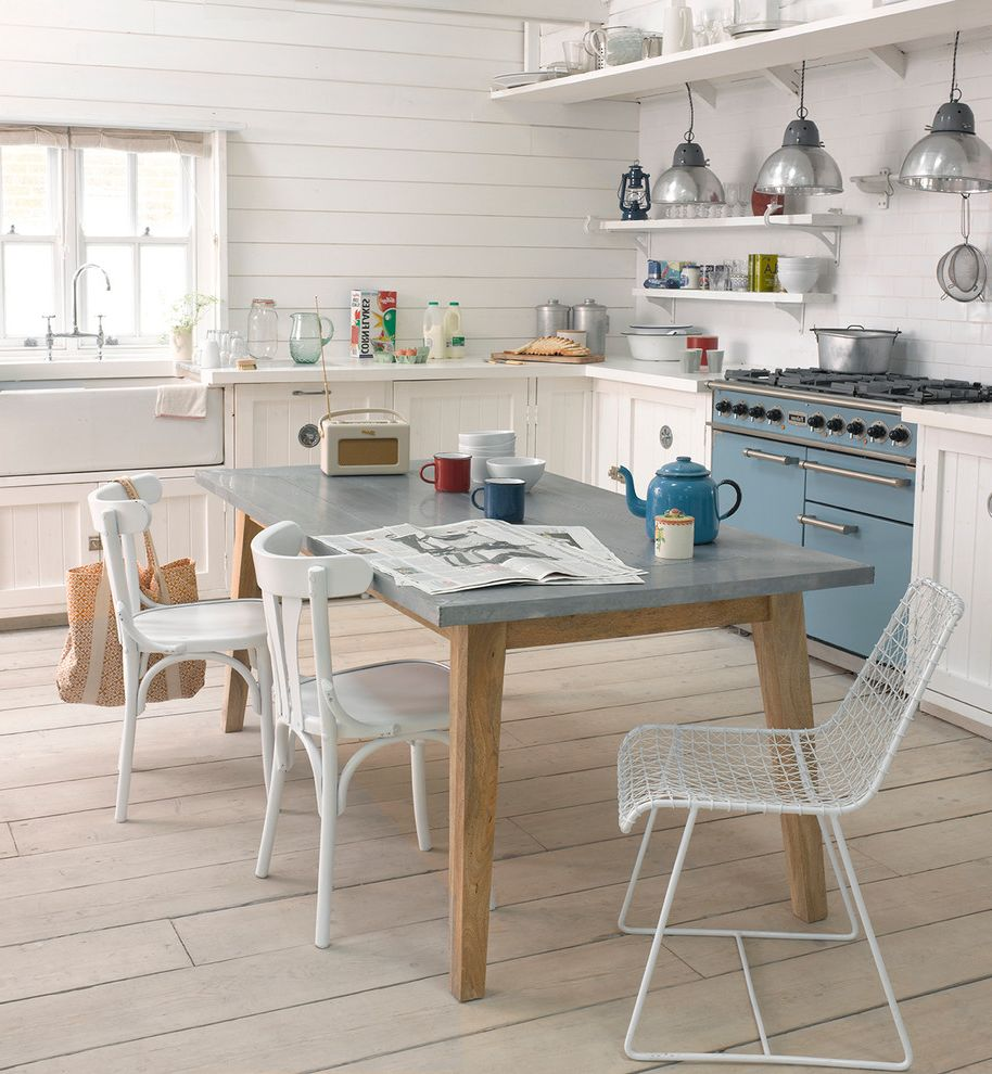 Joanna Gaines Age with  Kitchen  and Blue Blue Oven Chrome Pendants Industrial Pendants Kitchen Kitchen Curtains Ideas Kitchen Diner Kitchen Wall Tiles Ideas Metro Tile Painted Kitchen Cabinets Radio Retro Radio Table Tile Splashback White Dining Chairs