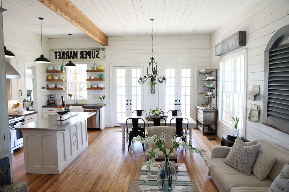 Joanna Gaines Age With Shabby Chic Style Living Room And Dining Area French Doors Kitchen Lighting
