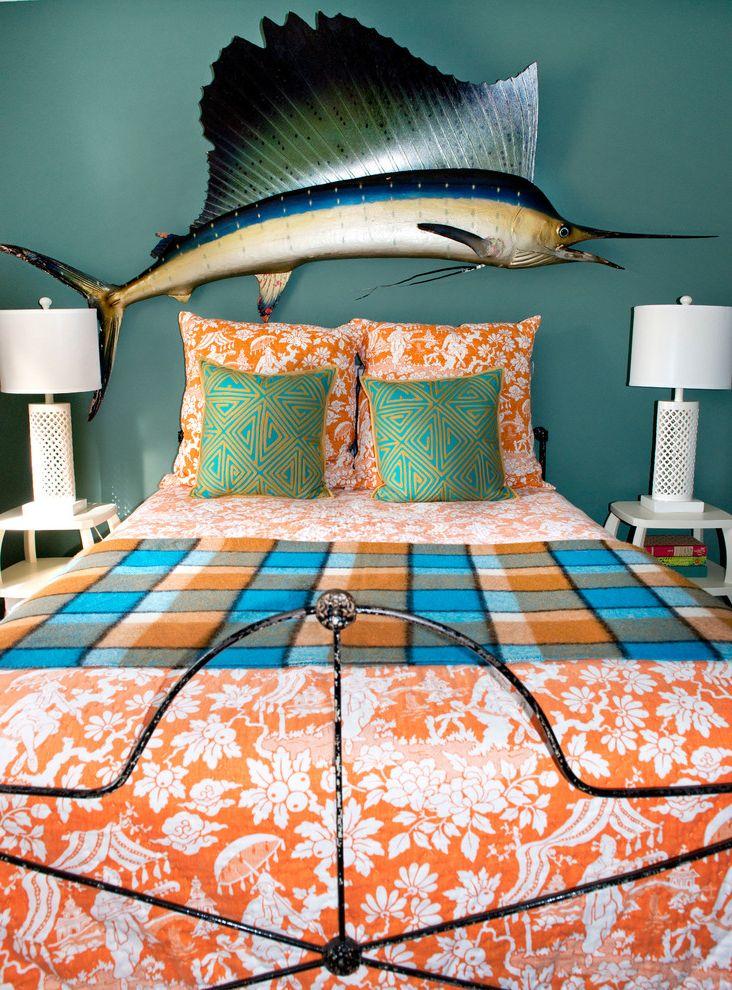 Joe Hayden Realtor   Eclectic Bedroom Also Colorful Iron Bed Metal Bed Frame Orange Orange Bedding Sailfish Sailfish Trophy Split Level Taxidermy Teal Toile Vintage