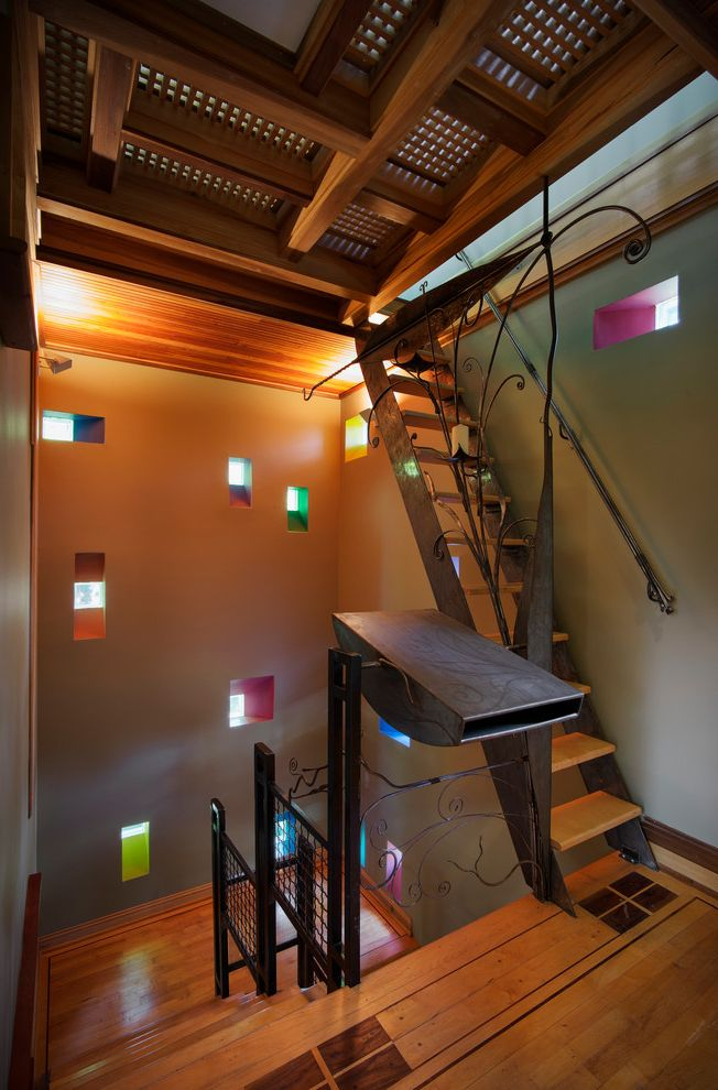 Joe Hayden Realtor with Craftsman Staircase Also Custom Landing Metal Banister Pops of Color Small Windows Unique