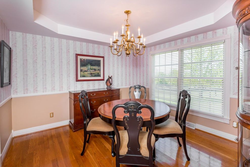 Joe Hayden Realtor with Shabby Chic Style Dining Room Also Ceiling Design Chandeliers Dining Room Grey Wallpaper Modern Farmhouse Peach Tray Ceiling