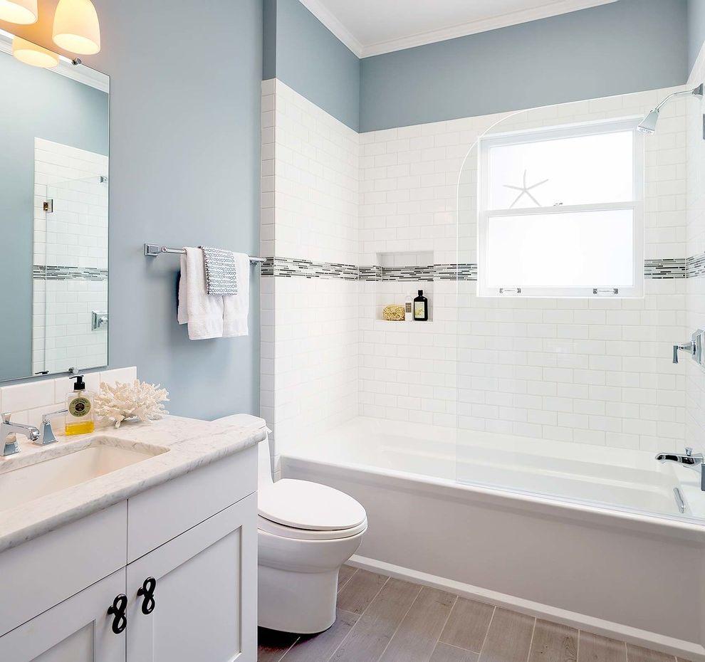 John Moore Plumbing   Beach Style Bathroom  and Bianco Carrara Blue Bathroom Gray Floor Tile Kohler Archer Porcelain Tile Planks Shower Niche Shower Screen