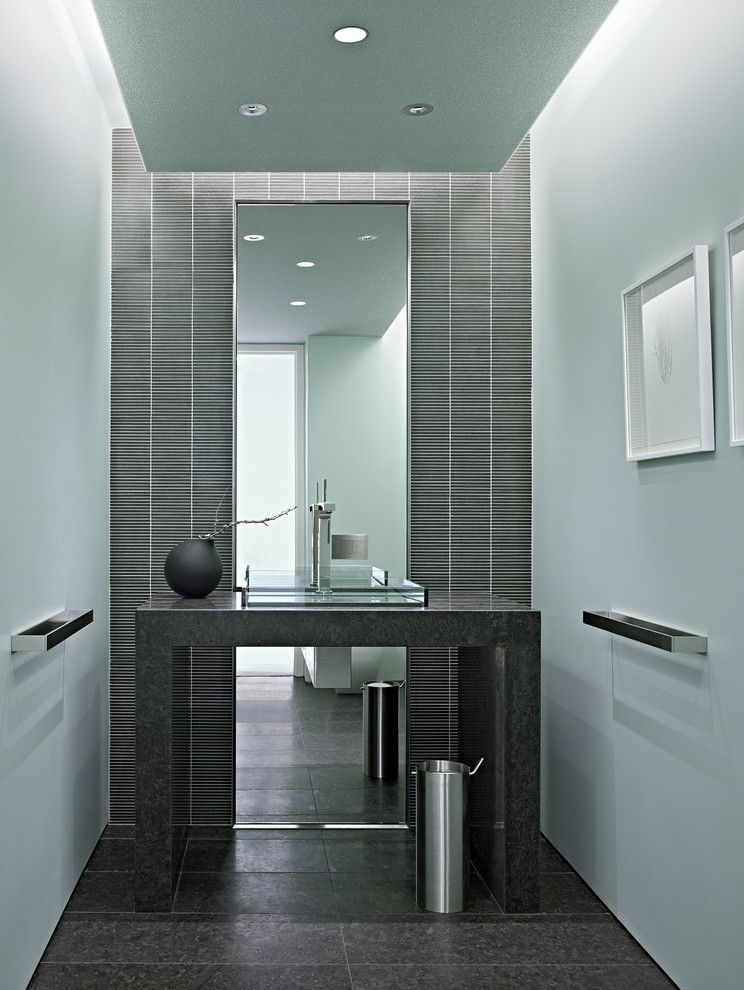 John Moore Plumbing   Modern Powder Room Also Accent Wall Bathroom Mirror Blue Walls Ceiling Lighting Drop Ceiling Glass Sink Vessel Sink Minimal Mirrored Wall Mosaic Tile Open Vanity Recessed Lighting Square Sink Tile Wall Towel Bar