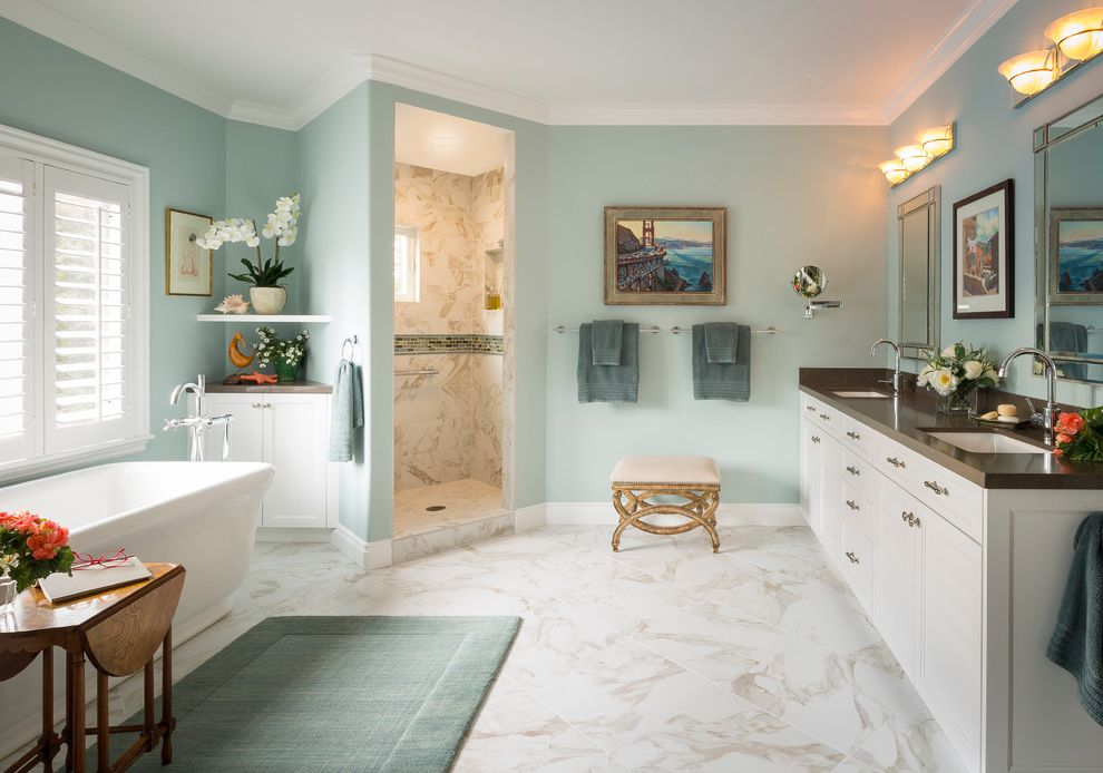 John Moore Plumbing with Traditional Bathroom Also Blue Paint Double Vanity Free Standing Soaker Tub Two Sinks Vanity Walk in Shower