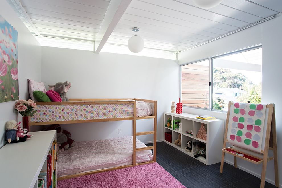 Johnathan Adler   Midcentury Kids Also Black Floor Tile Bunk Bed Clerestory Windows Easel Eichler Pendant Lights Pink Area Rug Remodel Single Family Home Stuffed Animals