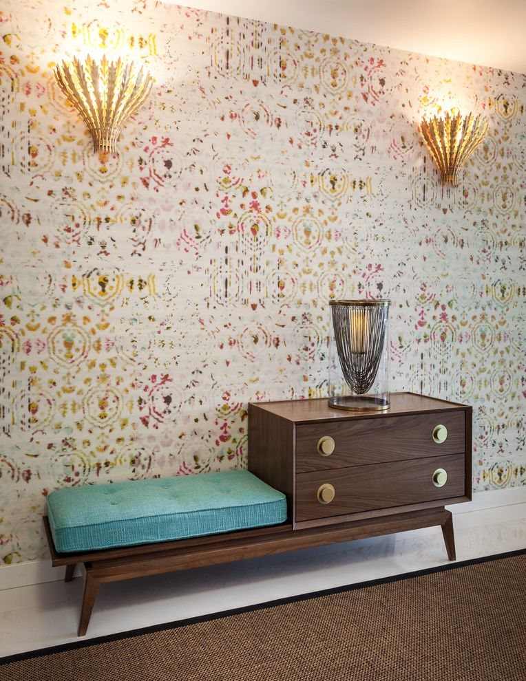 Johnathan Adler with Contemporary Entry Also Adriana Hoyos Hurrican Lamp Blue Cushion Brushed Brass Knobs Colorful Wallpaper Gilded Leaf Wall Light Gossip Bench Midcentury Bench Nubby Boucle Bench Seat Cusion