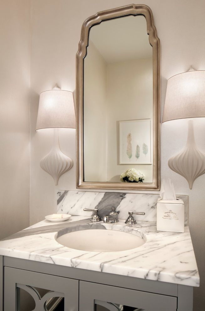 Johnathan Adler with Transitional Powder Room  and Ceramic Sconce Framed Mirror Marble Vanity Tissue Box Cover White Sconce