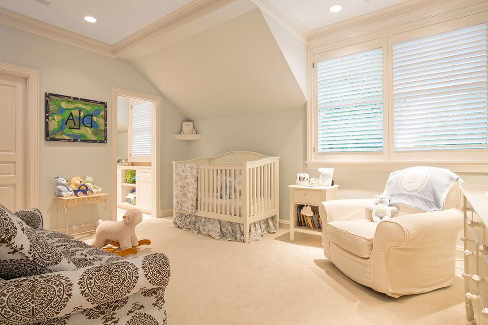 Johnsons Nursery   Traditional Nursery Also Recessed Lighting Rocking Horse White Armchair White Carpet White Crib
