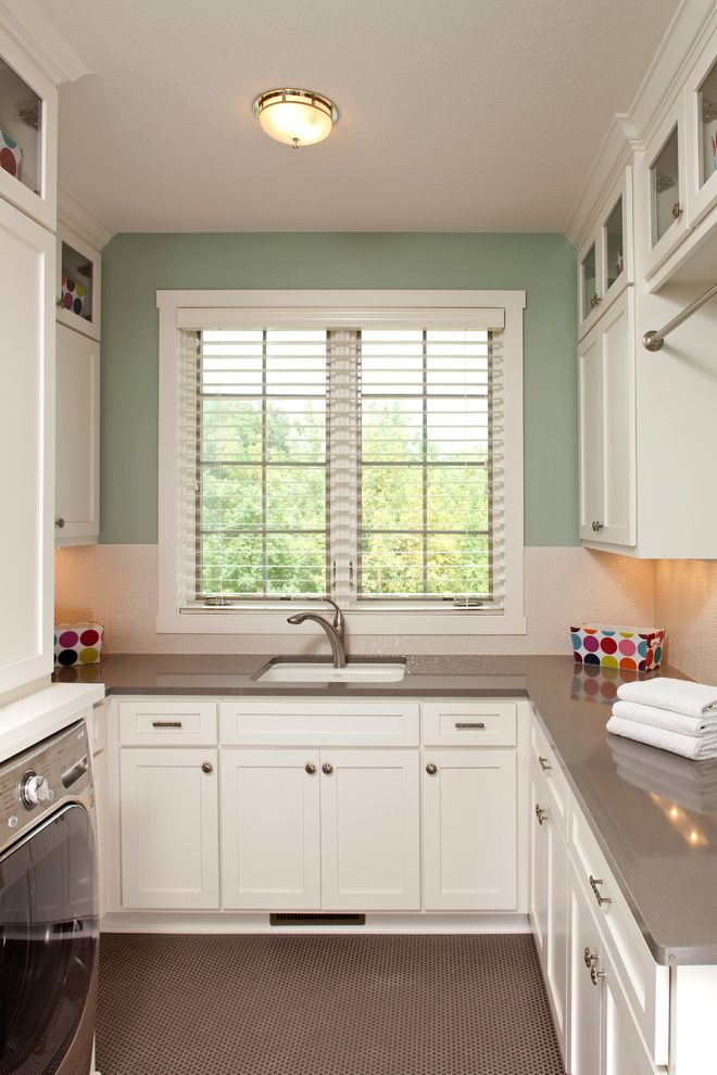 Jon Van Salon with Traditional Laundry Room  and Built in Cabinets Gray Floor Green Walls Penny Tile Undercabinet Lighting White Cabinets