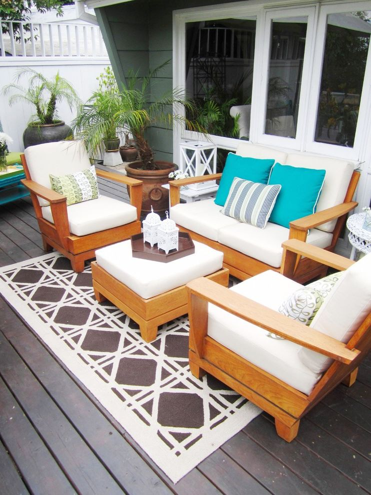 Jonathan Lewis Furniture   Eclectic Deck  and Container Plants Deck Decorative Pillows Outdoor Cushions Outdoor Rug Patio Furniture Potted Plants Throw Pillows Turquoise