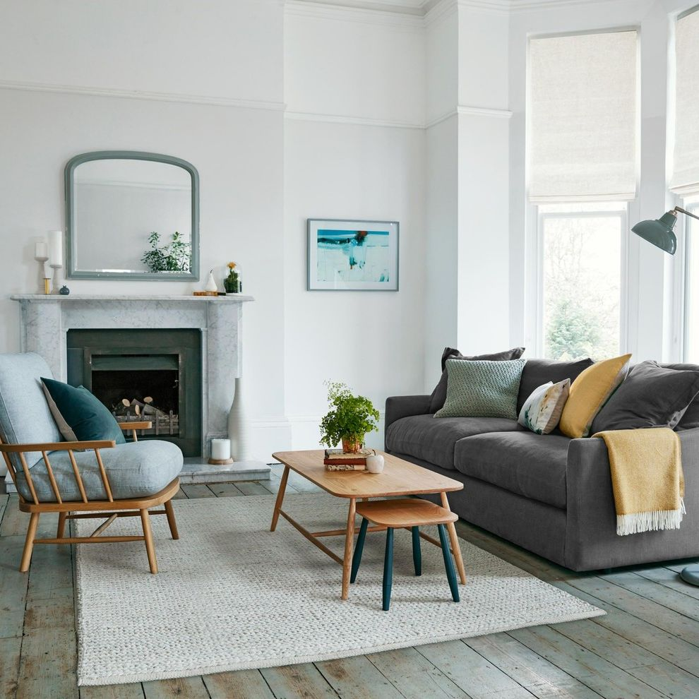 Jonathan Lewis Furniture   Transitional Living Room  and Bay Window Brown Sofa Brown Table Coastal Grey Living Room Grey Rug Marble Marble Fireplace Original Wooden Flooring Picture Rail Watercolour Painting White Walls Wooden Coffee Table Yellow Throw