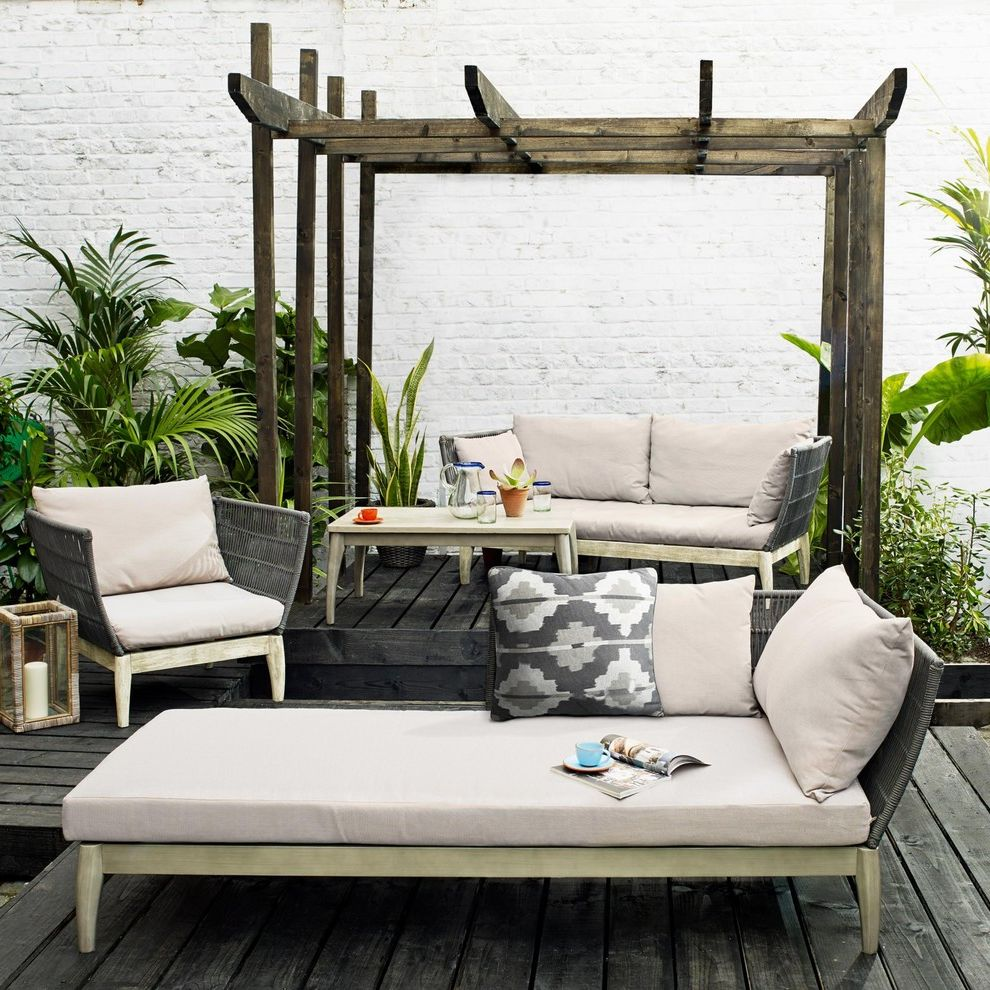 Jonathan Lewis Furniture with Mediterranean Deck  and Biscuit Lounger Brown Cushion Chaise Longue Cream Outdoor Sofa Decking Large Plants Matching Outdoor Seating Outdoor Chaise Outside Chair Outside Furniture Pergola Wooden Decking
