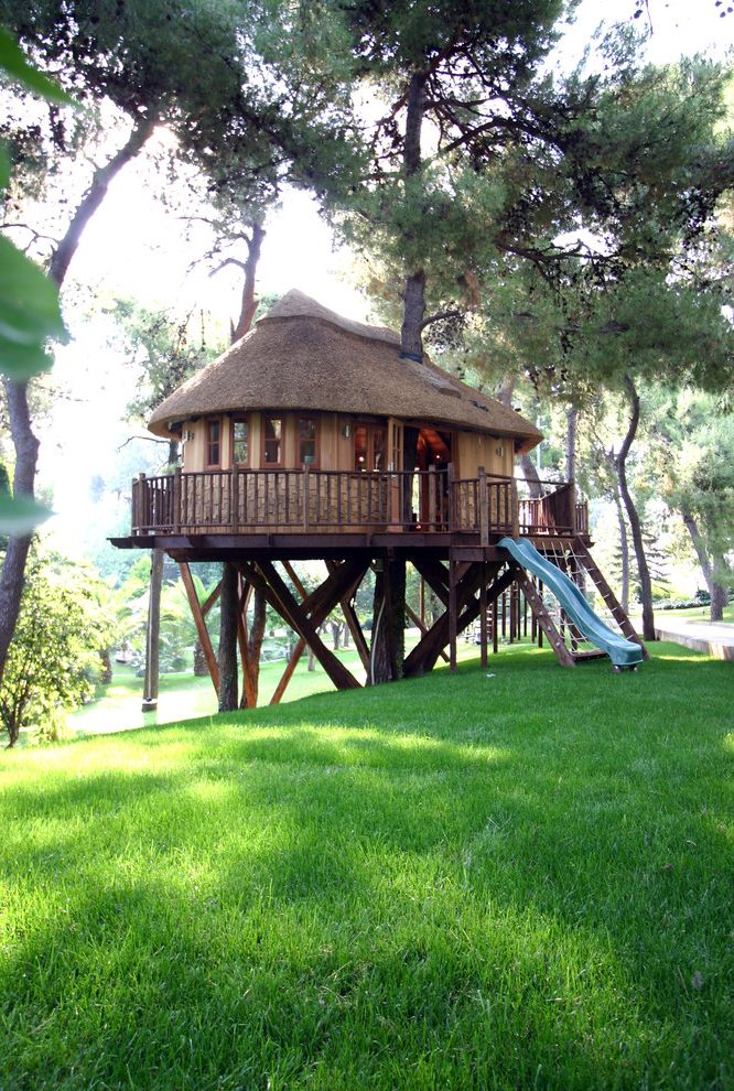 Joy House Milwaukee   Eclectic Landscape Also Balcony Cottage Deck Grass Lawn Playhouse Slide Thatched Roof Tree House Treehouse Turf
