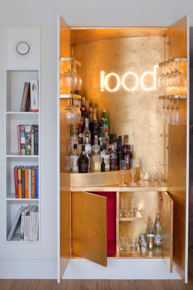 Juice Bar Boston   Contemporary Home Bar  and Bar Boo Cocktail Bar Cocktails Eclectic Bar Eclectic Drinks Cabinet Gold Gold Drinks Cabinet Gold Leaf Home Bar Red and Gold