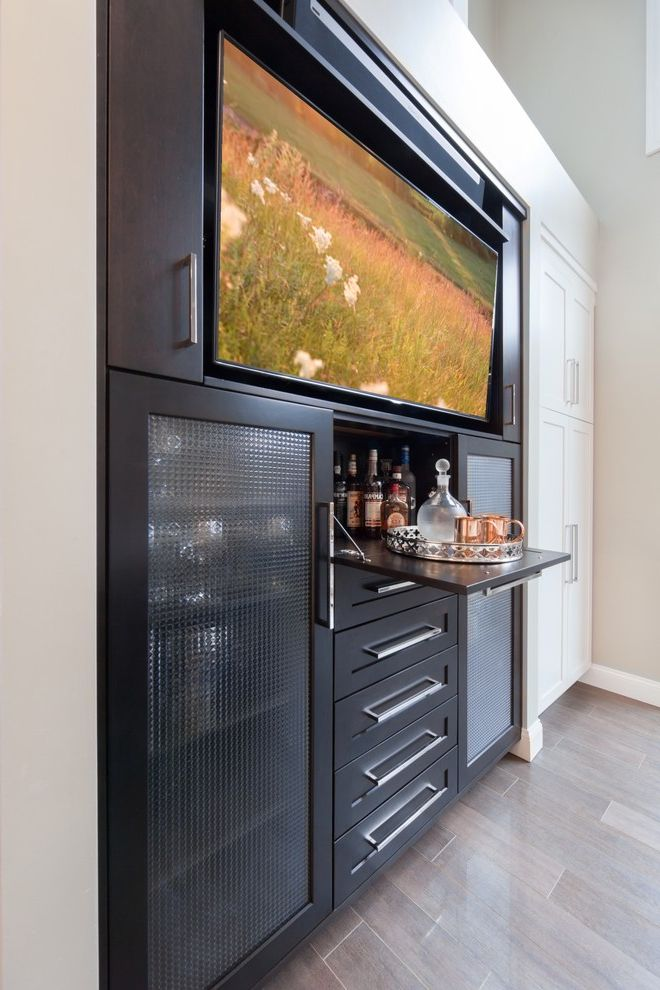 Juice Bar Boston   Transitional Home Bar  and Black and White Built in Tv Wall Drinks Cabinet Home Bar in Kitchen Transitional Kitchen Waterfall Granite Island White Kitchen