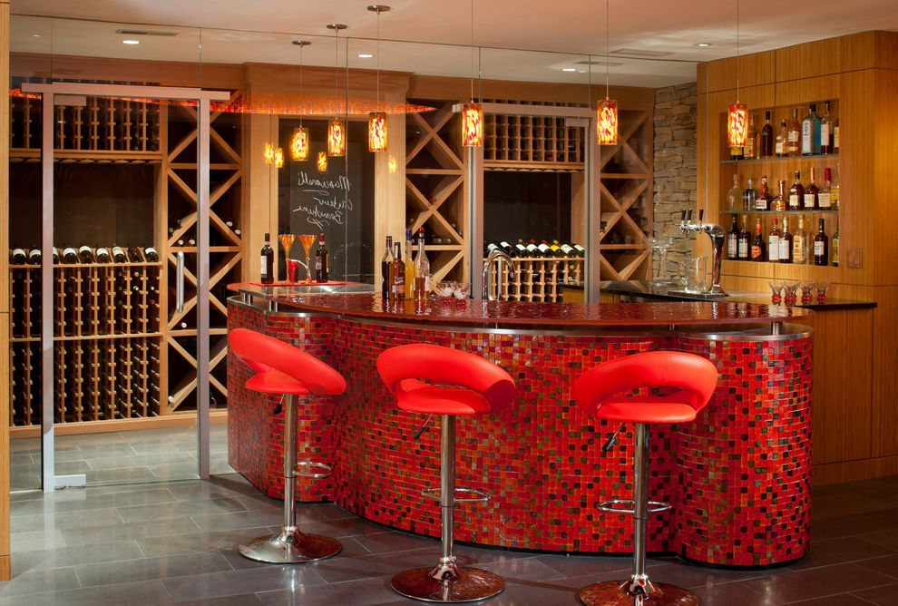 Juice Bar Boston with Modern Wine Cellar Also Bamboo Bar Basement Glass Pendant Lights Gray Tile Floor Mosaic Niche Red Red Bar Stool Red Tile Tile Wine Bar Wine Display Wine Rack Wood Wall