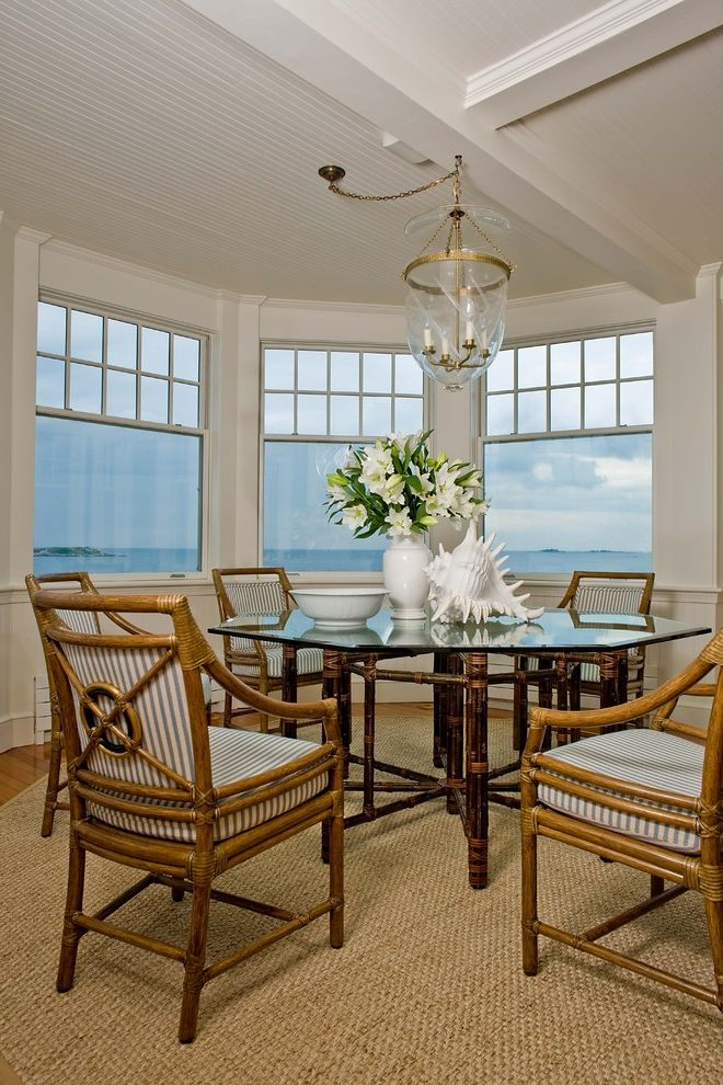 Juliska Sale with Beach Style Dining Room Also Area Rug Bay Window Bell Pendant Cane Dining Furniture Coastal Floral Arrangement Natural Rug Round Dining Table Striped Dining Cushions View White Wood Wood Ceiling Wood Molding