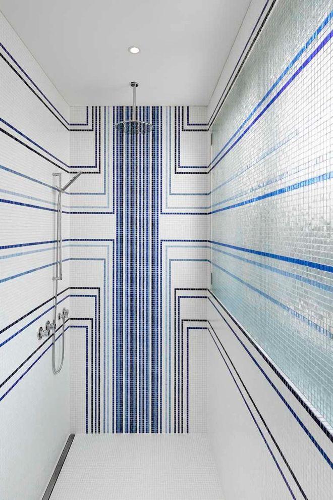 Just Energy Houston   Contemporary Bathroom  and Begehbare Dusche Beleuchtete Dusche Blaues Linienmuster Einbaustrahler Fliesenmuster Handbrause Mosaikfliesen Regendusche Schimmernde Mosaikfliesen