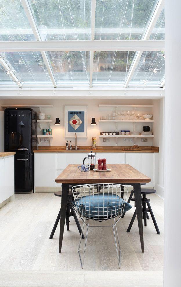 Just Energy Houston    Kitchen Also Bertoia Black Fridge Glass Ceiling Kitchen Shelves Kitchen Stools Kitchen Table Open Shelves Smeg Smeg Bridge White and Wood Wooden Worktops