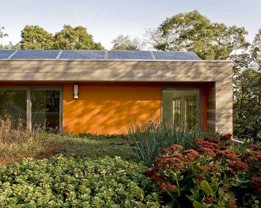 Just Energy Houston   Modern Exterior Also Cedar Siding Fiber Cement Green Roof Leed Modern Solar