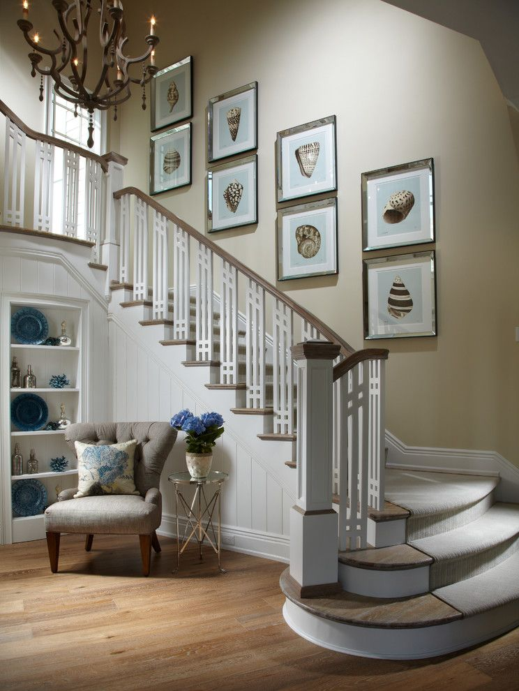 Just Grillin Tampa   Beach Style Staircase Also Artwork Banister Beige Wall Chair Chandelier Coastal Newel Post Side Table Stair Runner Under Stair Shelf Wood Floors Wood Staircase