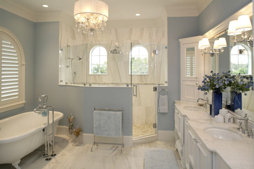 Just Grillin Tampa   Traditional Bathroom Also Arched Windows Chandelier Claw Foot Tub Floor Mount Faucet Freestanding Bathtub Glass Shower Enclosure Gray Marble Counter Marble Floors Marble Walls Recessed Panel Cabinets Shutters Wall Sconces
