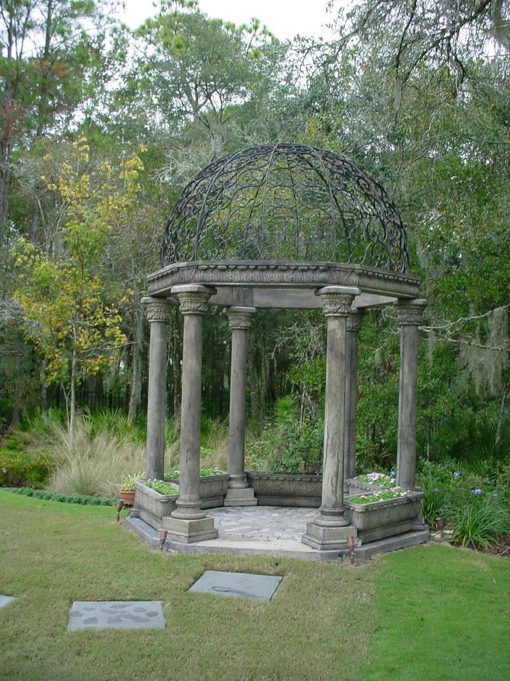 Just Grillin Tampa with Mediterranean Landscape  and Bushes Column Garden Dome Garden Pergola Garden Structure Gazebos Grass Lawn Metal Roof Outdoor Potted Plant Pergola Pillar Shrubs Stone Paver Pathway Stone Paver Walkway Wrought Iron Dome
