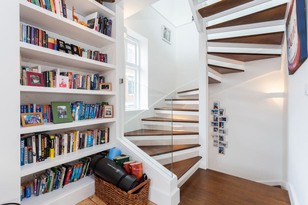 Just Sprinklers   Contemporary Staircase Also Built in Bookshelf Corner Wall Sconce Storage Basket