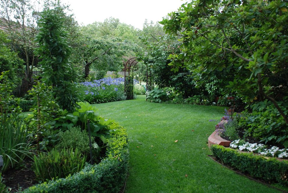 Just Sprinklers   Traditional Landscape  and Arbor Boxwood Brick Grass Hedge Hostas Landscaping Lawn Path Planting Areas