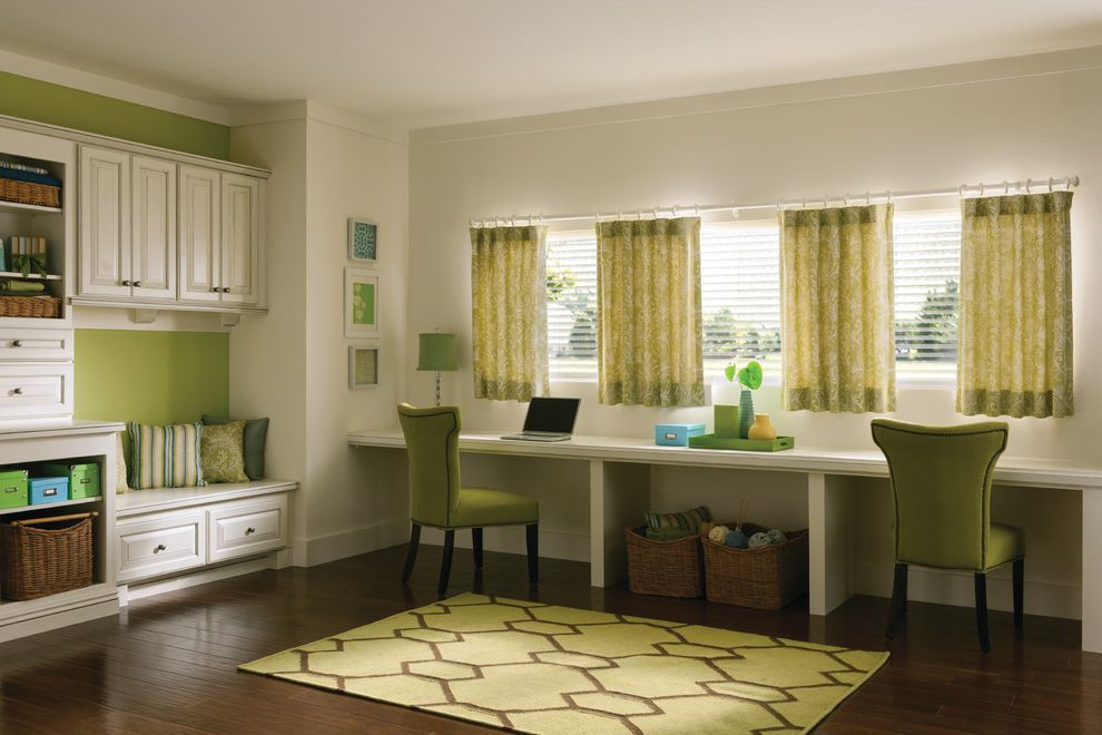 Just Sprinklers with Traditional Living Room  and Area Rug Built in Curtains Custom Drapery and Pillows Drapery Drapes Dual Workspace Green Curtains Green Room Multi Purpose Home Office Roman Shades Shades Shutter Window Treatments