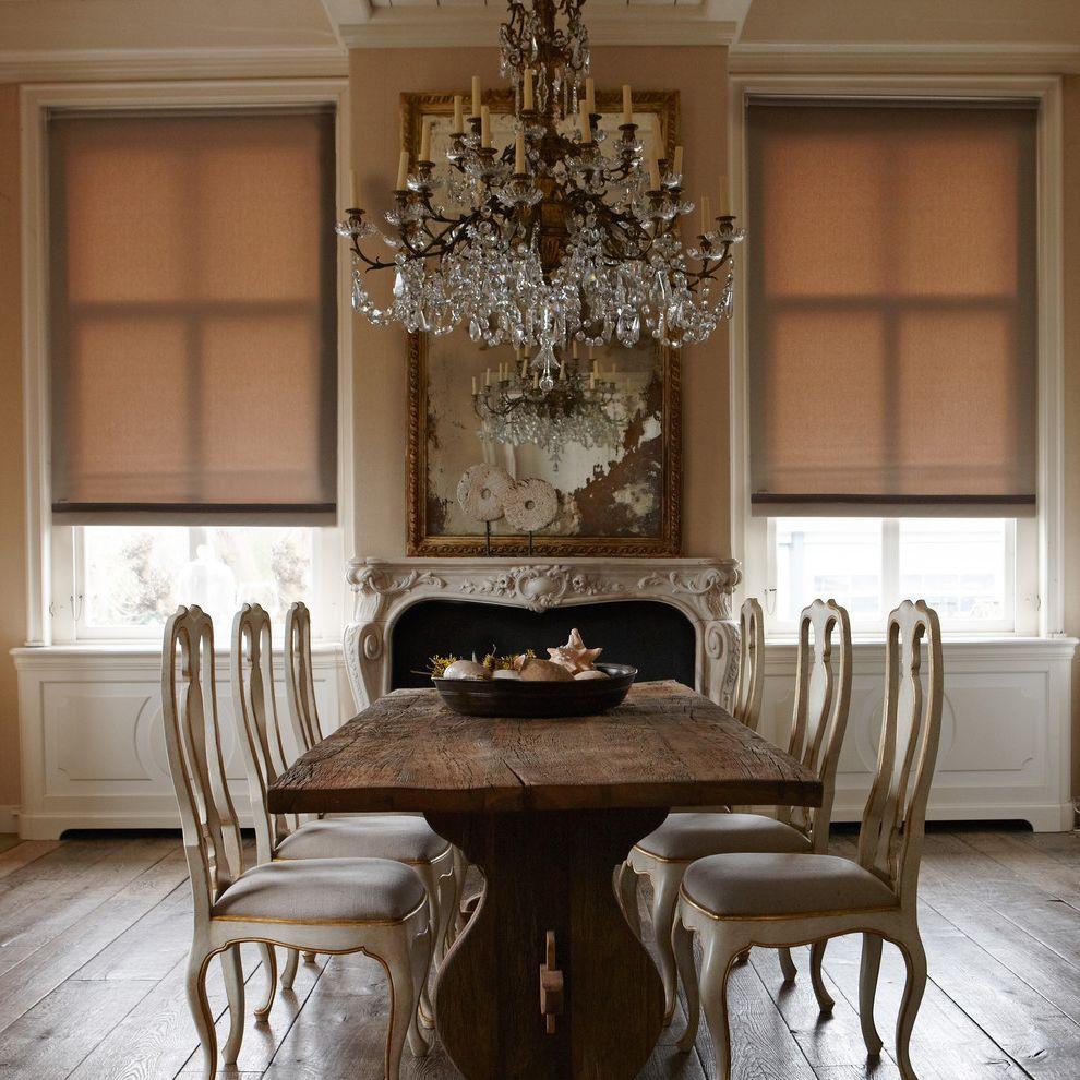 Kanes Furniture Sarasota   Traditional Dining Room  and Chandelier Fireplace Roller Blinds Wood Dining Chairs Wood Dining Table Wood Floor
