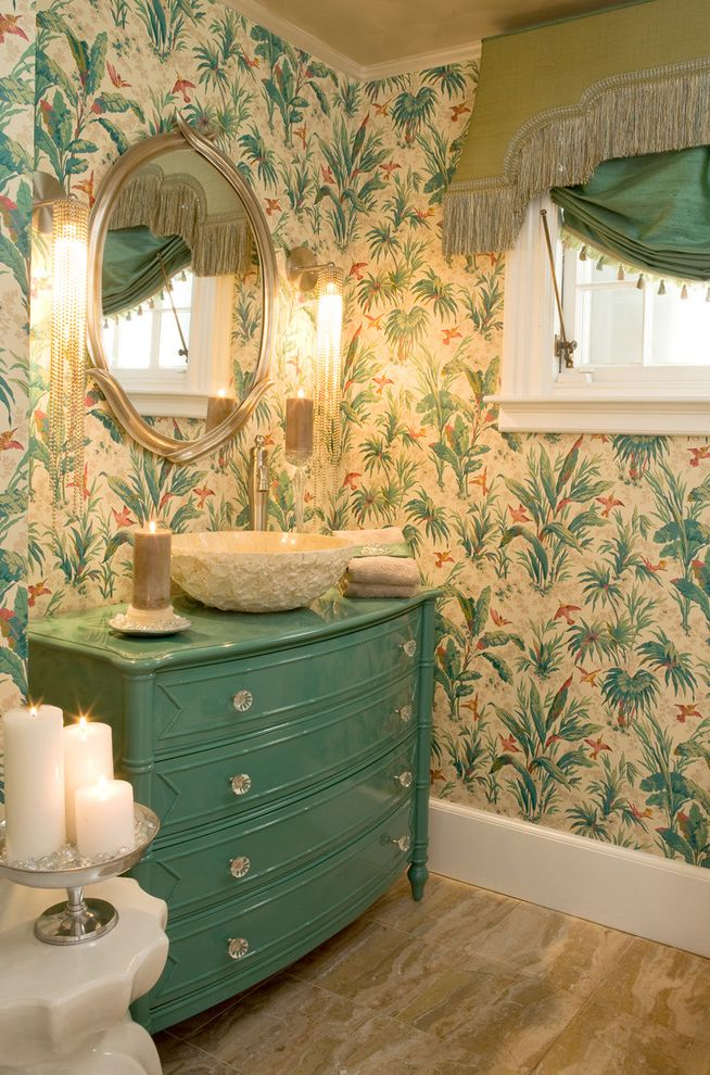 Kanes Furniture Sarasota   Tropical Bathroom  and Bureau Candles Marble Floor Painted Furniture Reclaimed Vanity Round Mirror Turquoise Vessel Sink Wall Sconces Wallpaper Window Treatment