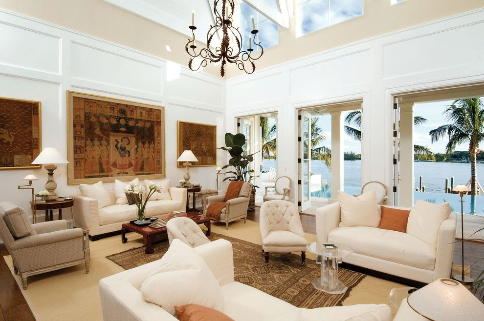 Kanes Furniture Sarasota with Tropical Family Room Also Beams Chandelier Cicel Family Room French Doors Lido Shores New Pass Palm Trees Paneled Wlls Paneling Sarasota Tapestry Wainscott Water View Waterfront White Couch