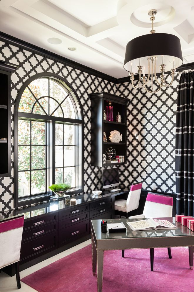 Kate Spade Office Supplies   Transitional Home Office  and Arch Window Area Rug Black and White Built in Cabinetry Chandelier Coffered Ceiling Curtains Pink Wallpaper