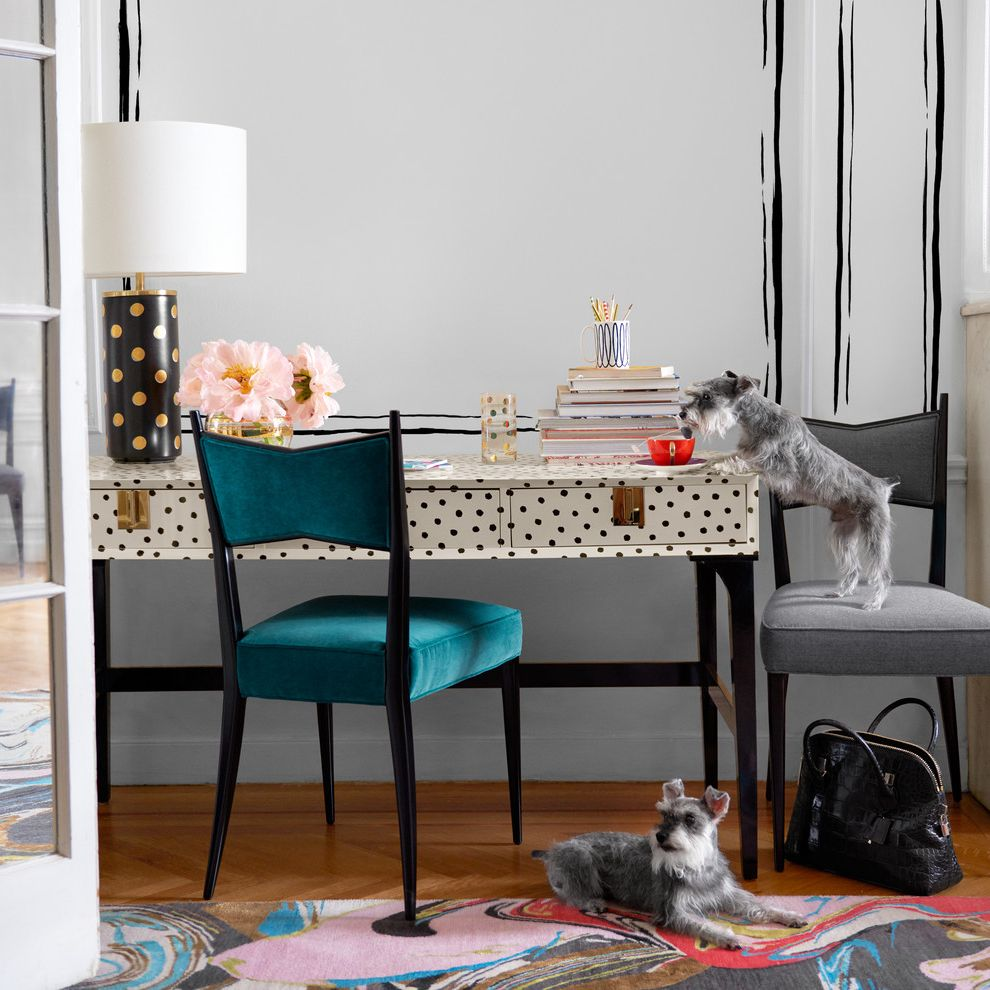 Kate Spade Office Supplies with Contemporary Home Office  and Gray Chair Pokla Dotted Table Lamp Polka Dotted Office Desk Turquoise Chair