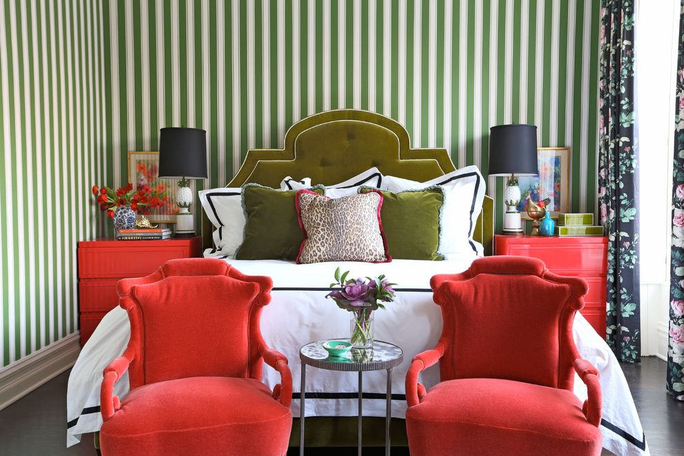 Kate Spade Office Supplies with Eclectic Bedroom  and Chinese Chairs Chintz Coral Coral Chairs Green Headboard Green Striped Walls Hotel Bedding Pink Pink Dresser Pink Side Table Striped Walls