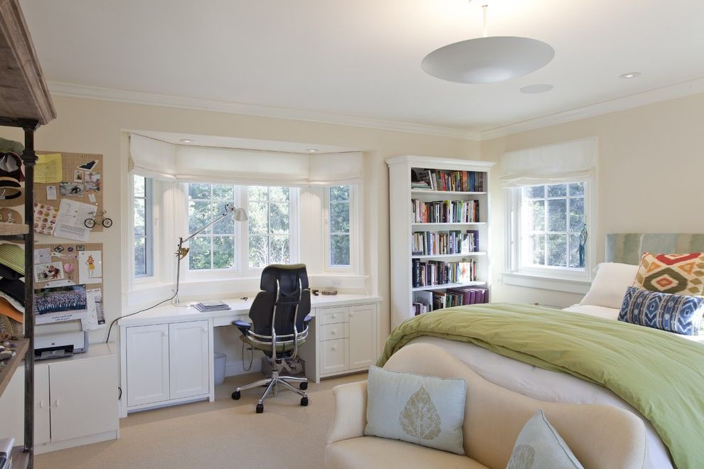 Kate Spade Office Supplies with Traditional Bedroom  and Bay Window Bed Pillows Bedroom Desk Bookcase Bowl Chandelier Bulletin Board Couch Cream Walls Foot of the Bed Girls Room Green Bedding Loveseat Upholstered Headboard White Wood Wood Molding