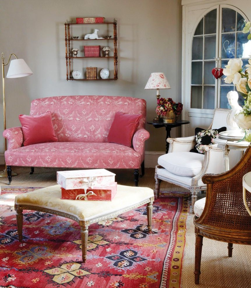 Kate Spade Office Supplies with Traditional Living Room Also Blinds Box Files Curtains Cushions Fabrics Floral Lampshade Lampshades Lighting Living Room Lounge Ottoman Pink Pink Cushions Pink Sofa Sitting Room Storage Boxes Upholstery