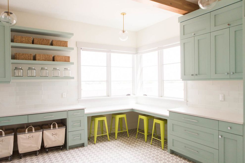 Kate Spade Office Supplies with Transitional Laundry Room  and Blue Ca Cement Tile Craft Room Laundry Lights School House Electric