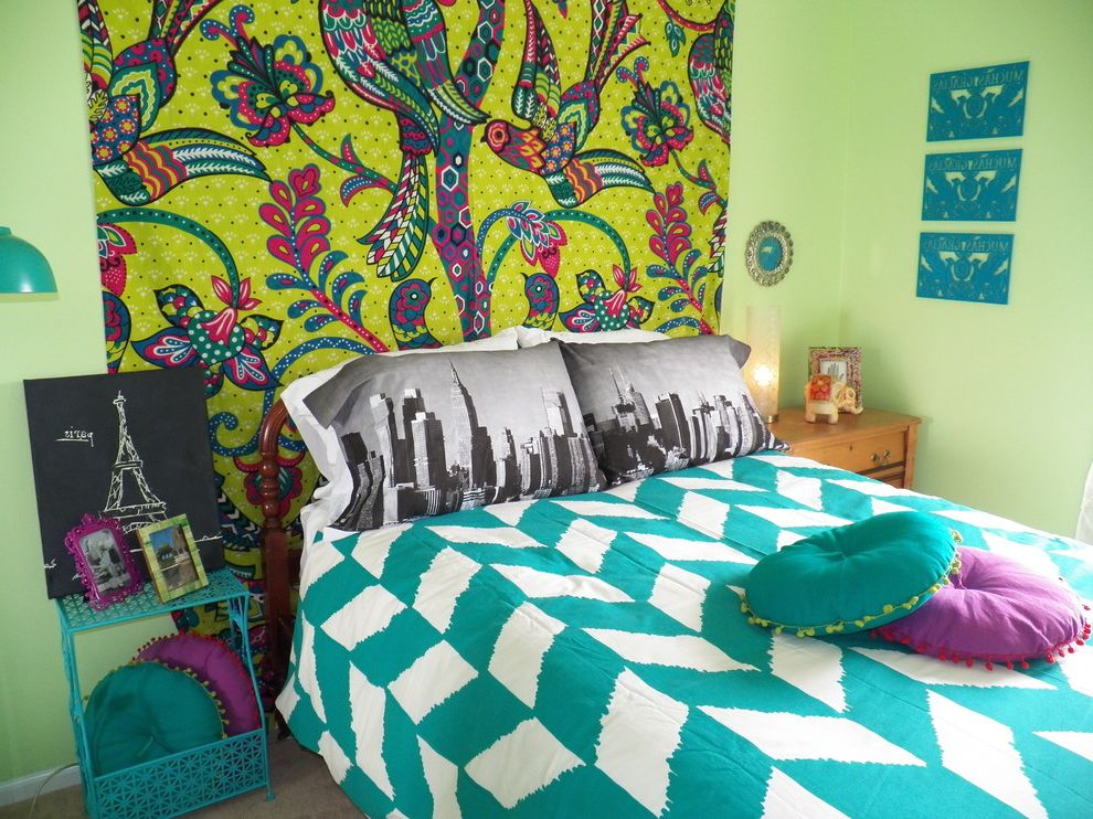 Kate Spade Pillows with Eclectic Kids Also Bedding Bedroom Bohemian Bright Bright Green Wall Girl Green Mixed Patterns Nightstand Pillows Purple Tapestry Teal Teenage Vibrant Wall Art Wall Hanging