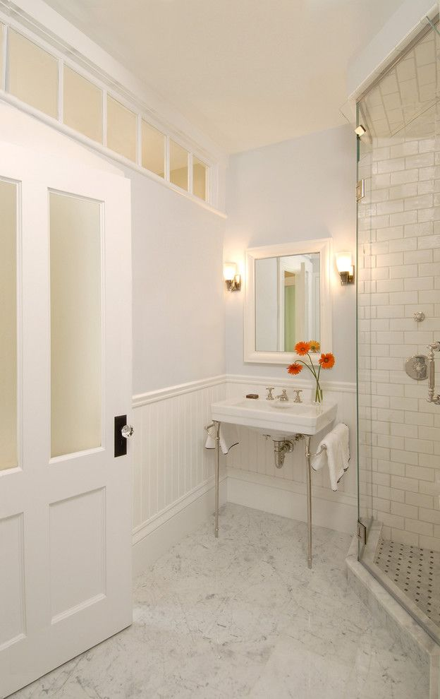 Kc Auto Glass   Traditional Bathroom Also Beadboard Console Sink Frameless Shower Frosted Glass Glass Door Knob Glass Panel Shower Gray Walls Marble Floor Subway Tile Transom Window Wainscot Wall Sconce White Painted Wood