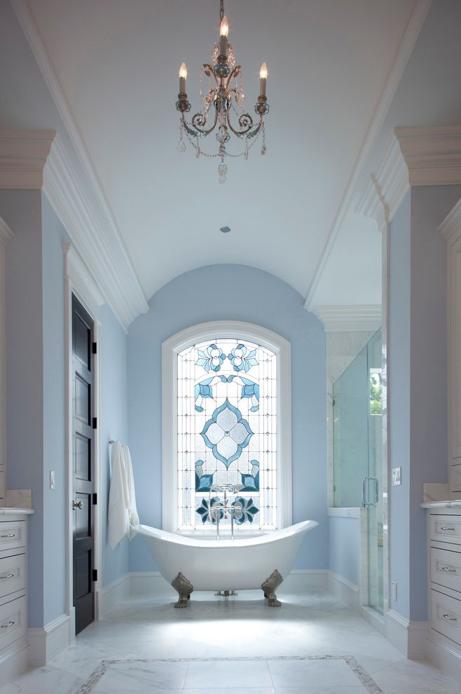 Kc Auto Glass   Victorian Bathroom Also Barrel Ceiling Chandelier Clawfoot Tub Light Blue Wall Stain Glass