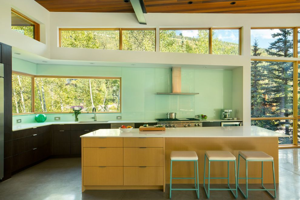 Kc Auto Glass with Contemporary Kitchen Also Clerestory Windows Corner Window Counter Stools Pop of Color Quartz Countertop Stainless Steel Appliances Steel Beam Tall Ceilings View of Nature Wood Ceiling