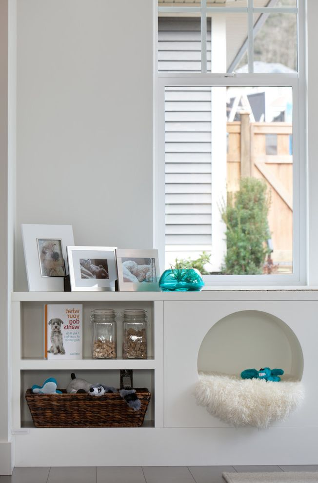Keep Cat Off Bed   Contemporary Kitchen Also Basket Built in Dog Bed Double Hung Window Gray Wall Ledge Muntins Natural Lighting Nook Pets Picture Frames Round Cubby Shelves Storage White Trim