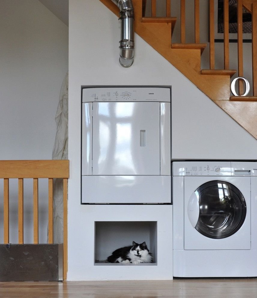 Keep Cat Off Bed   Eclectic Laundry Room  and Built in Cat Bed Built in Pet Bed Cat Nook Dryer Laundry Pet Space Stair Under Stair Laundry Under Stair Storage Washer White Appliances White Dryer White Washer Wood Railing Wood Stair Railing