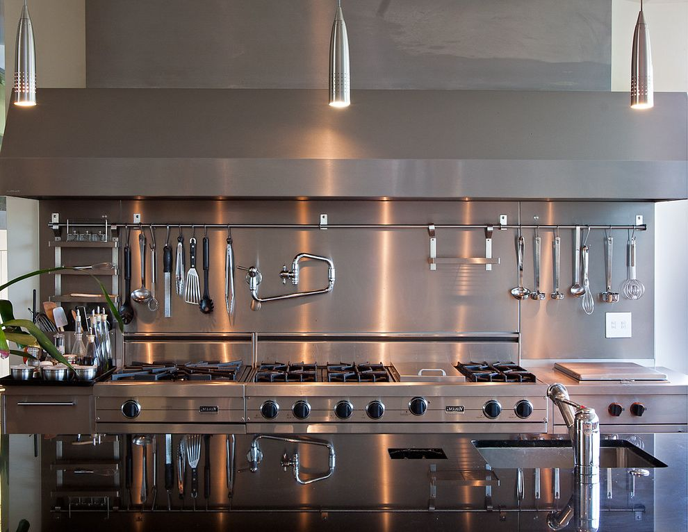 Kenmore Elite Stainless Steel Refrigerator with Contemporary Kitchen  and Industrial Pendant Lighting Pot Filler Range Hood Stainless Steel Appliances Utensil Rack